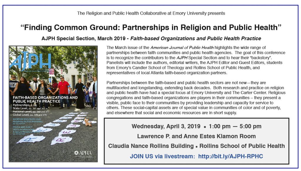 """Jeff Levin will present at """"Finding Common Ground: Partnerships in Religion and Public Health"""" @ Lawrence P. and Anne Estes Klamon Room Emory University"""