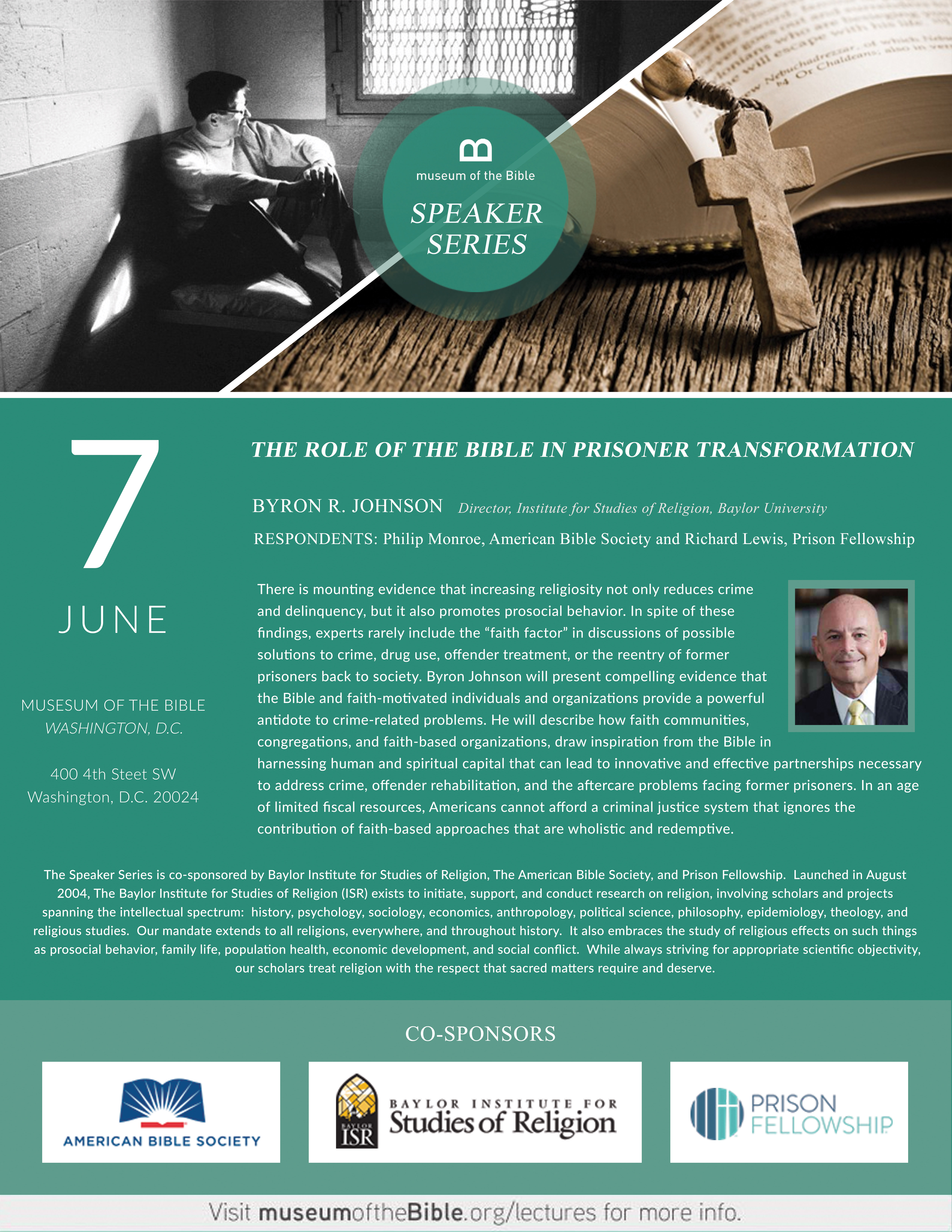 Museum of the Bible Speaker Series: The Role of the Bible in Prison Reformation @ Museum of the Bible   Washington   District of Columbia   United States