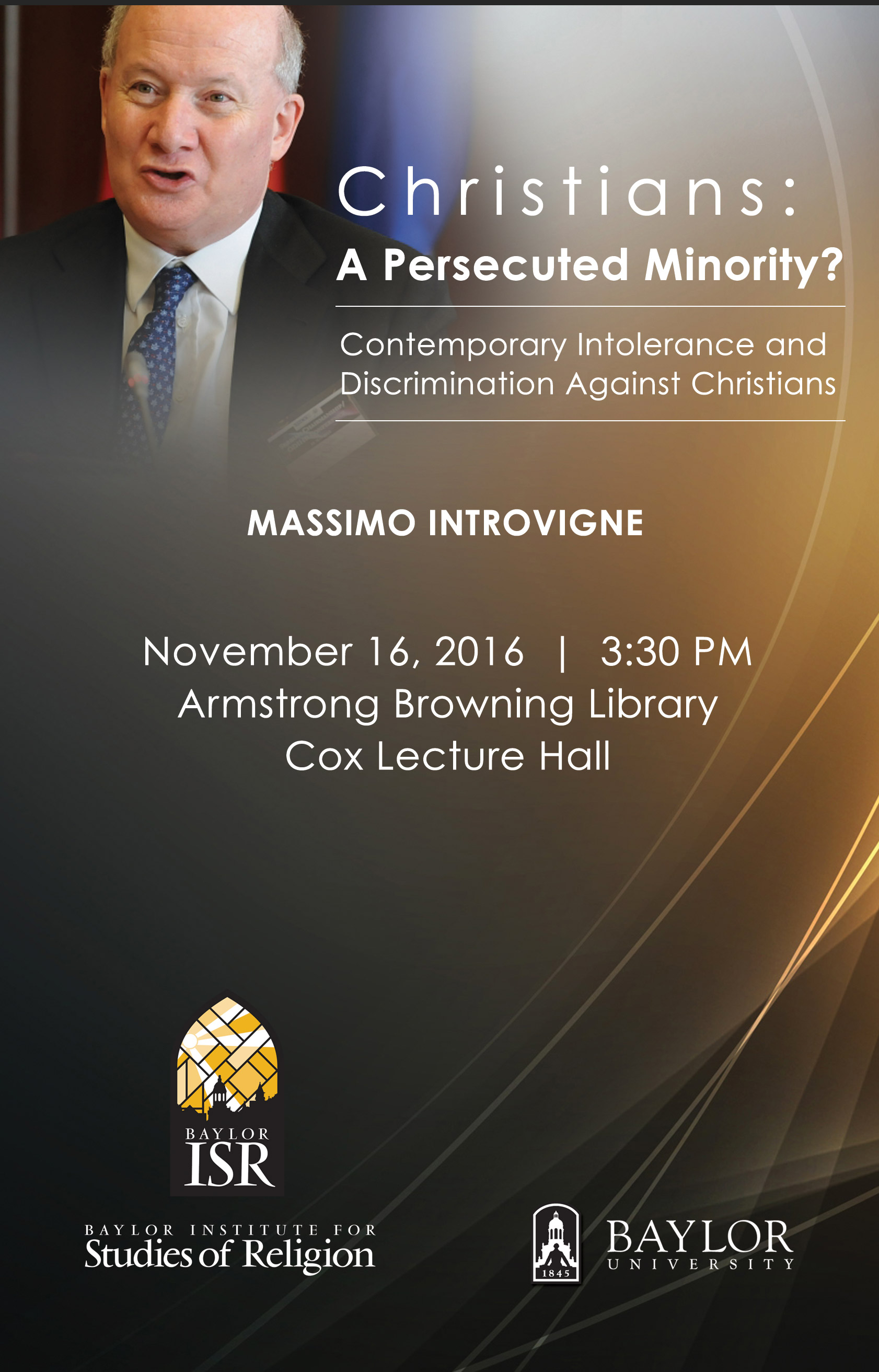 Massimo Introvigne Lecture @ Cox Lecture Hall, Armstrong Browning Library, Baylor University